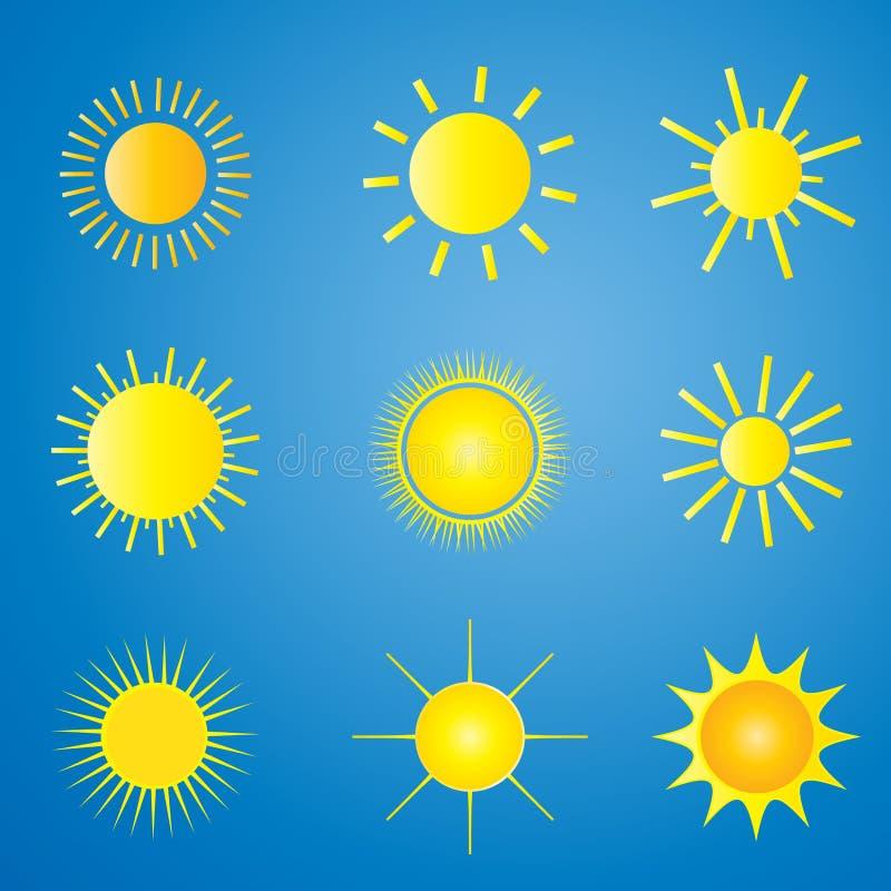 ställ in sunvektorn vektor illustrationer