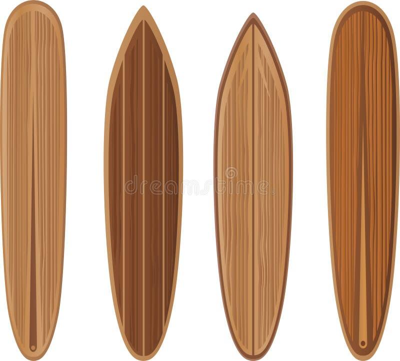 ställ in surfingbrädor trä stock illustrationer