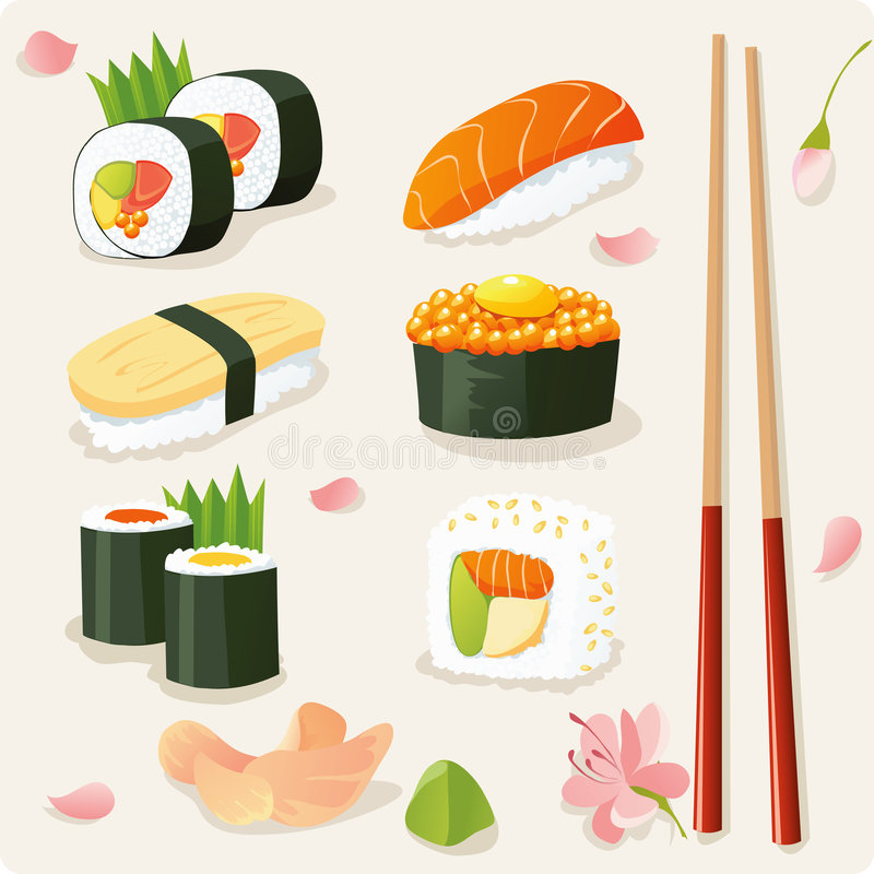 ställ in sushi vektor illustrationer