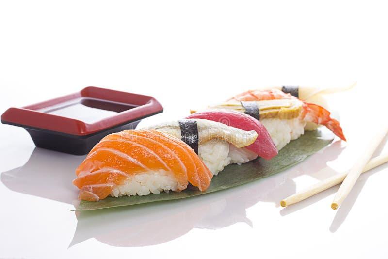 ställ in sushi vita royaltyfri fotografi
