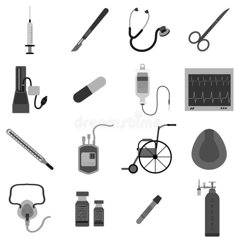 Ställ in symbolen av illustrationen för medicinsk utrustning royaltyfri illustrationer