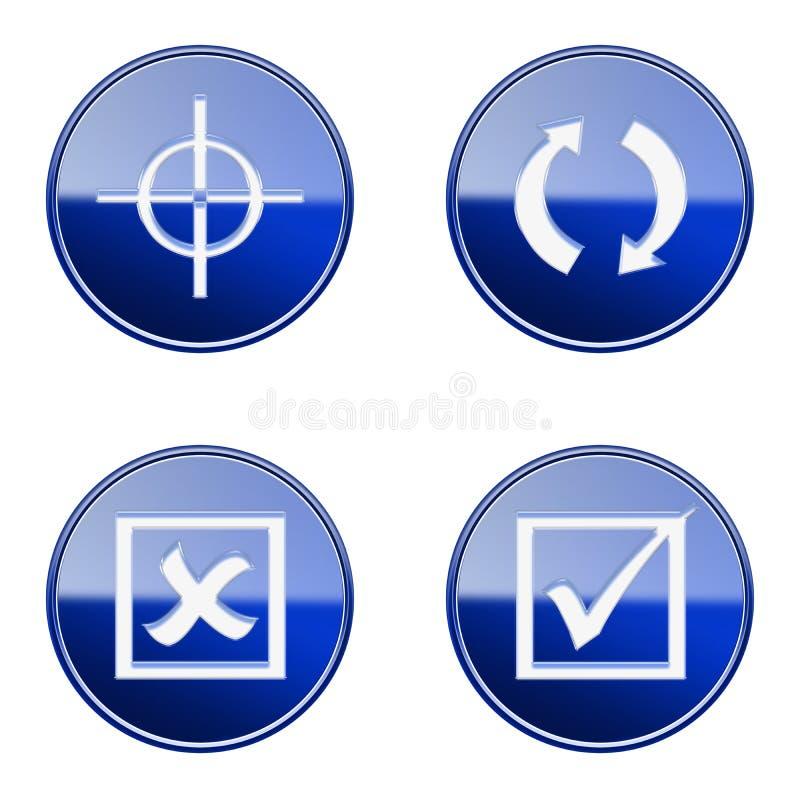 Ställ in symbolen blå glansig #22 royaltyfri illustrationer