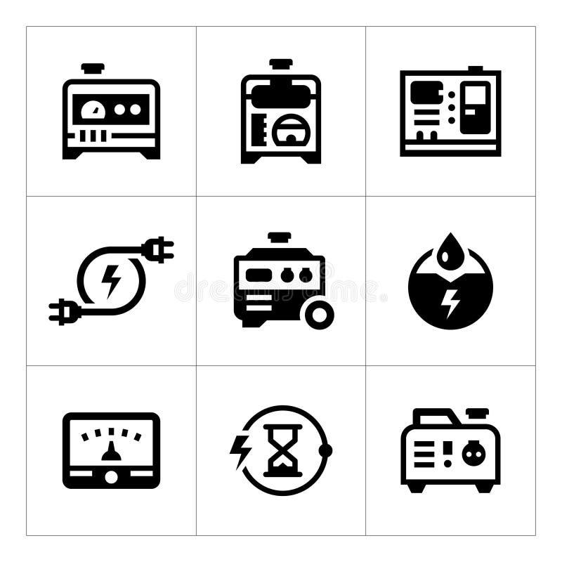 Ställ in symboler av den elektriska generatorn stock illustrationer