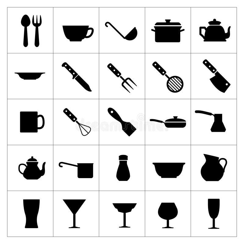 Ställ in symboler av dishware- och köktillbehör stock illustrationer
