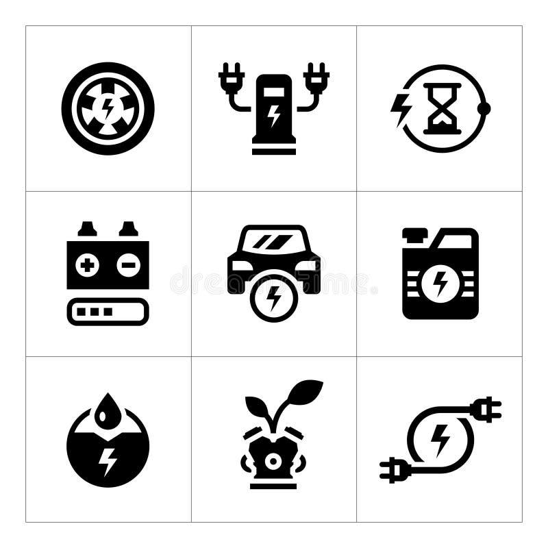 Ställ in symboler av elbilen royaltyfri illustrationer