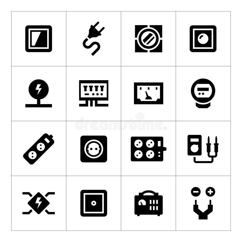 Ställ in symboler av elektricitet royaltyfri illustrationer
