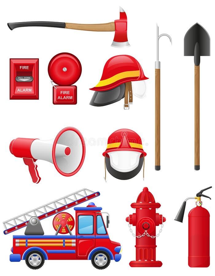 Ställ in symboler av firefightingutrustning royaltyfri illustrationer