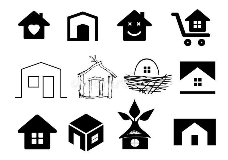 Ställ in symboler av hus royaltyfri illustrationer