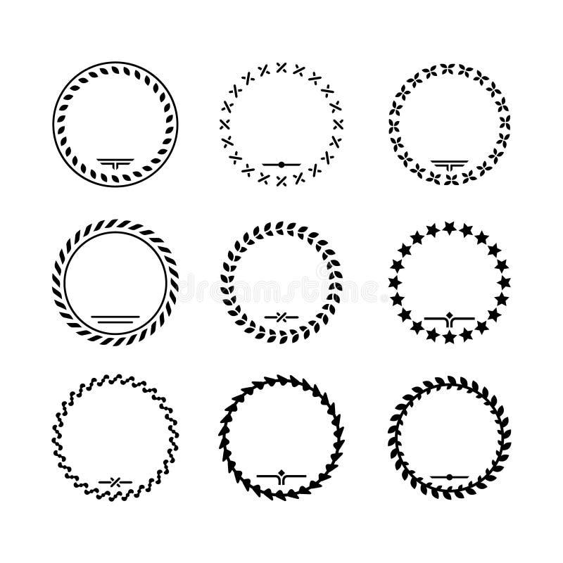 Ställ in symboler av lagerkransen och moderna ramar stock illustrationer