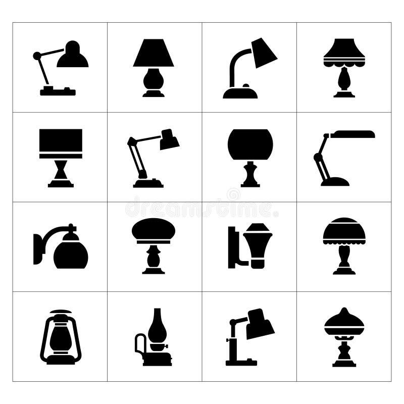 Ställ in symboler av lampor royaltyfri illustrationer