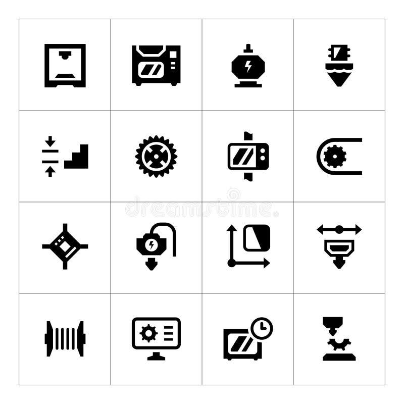Ställ in symboler av printing 3D royaltyfri illustrationer