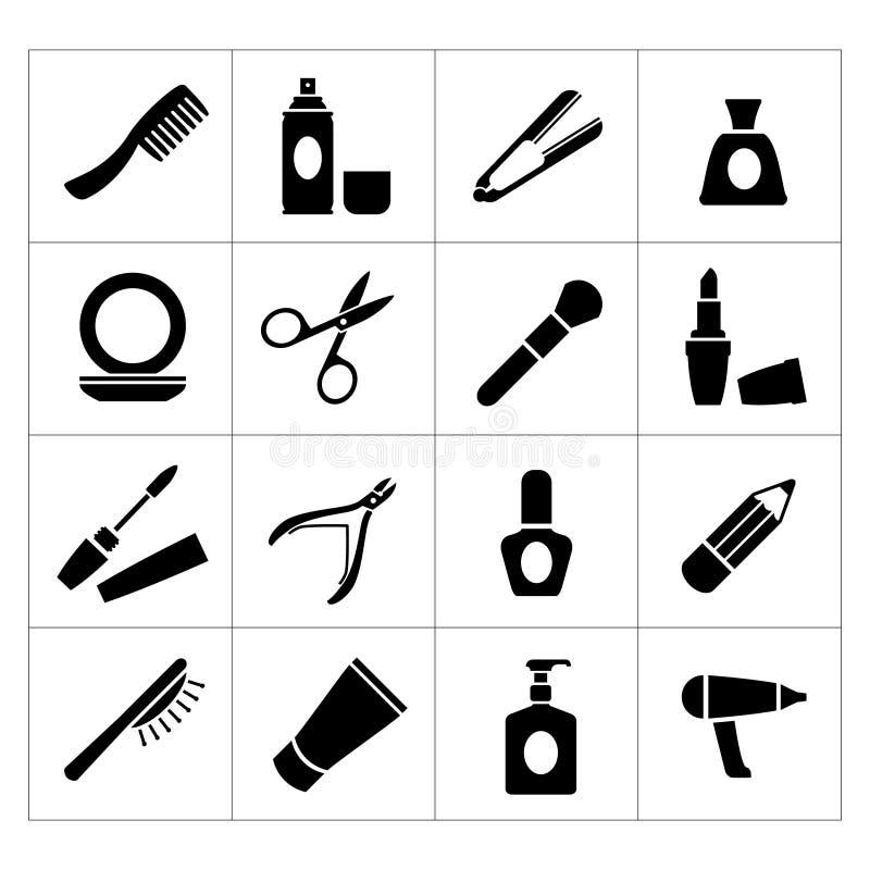 Ställ in symboler av skönhet och skönhetsmedel stock illustrationer