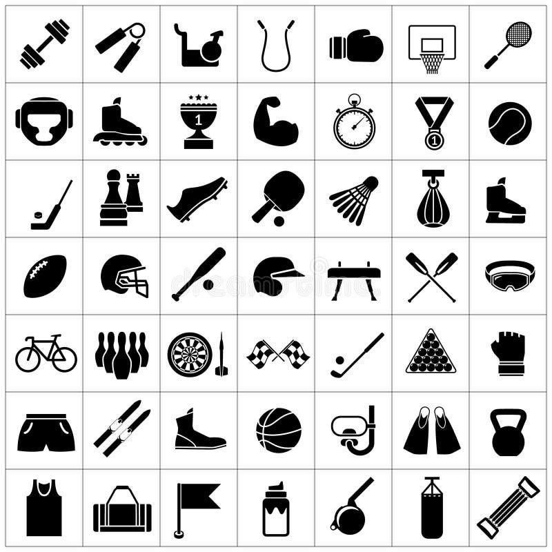 Ställ in symboler av sportar och konditionutrustning stock illustrationer