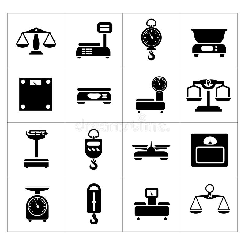 Ställ in symboler av vikter och våg stock illustrationer