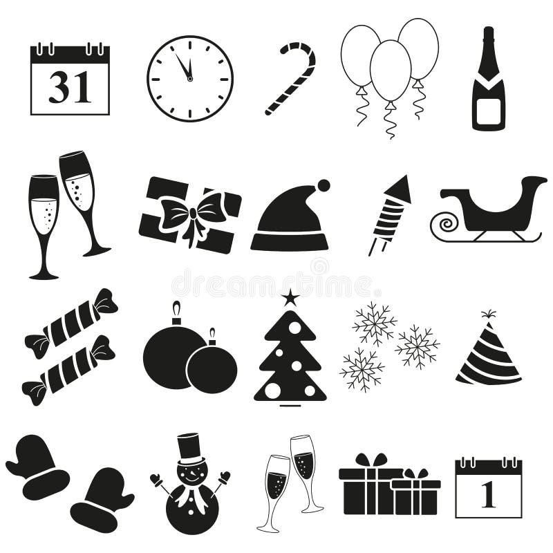 Ställ in symboler för glad jul och för det nya året royaltyfri illustrationer