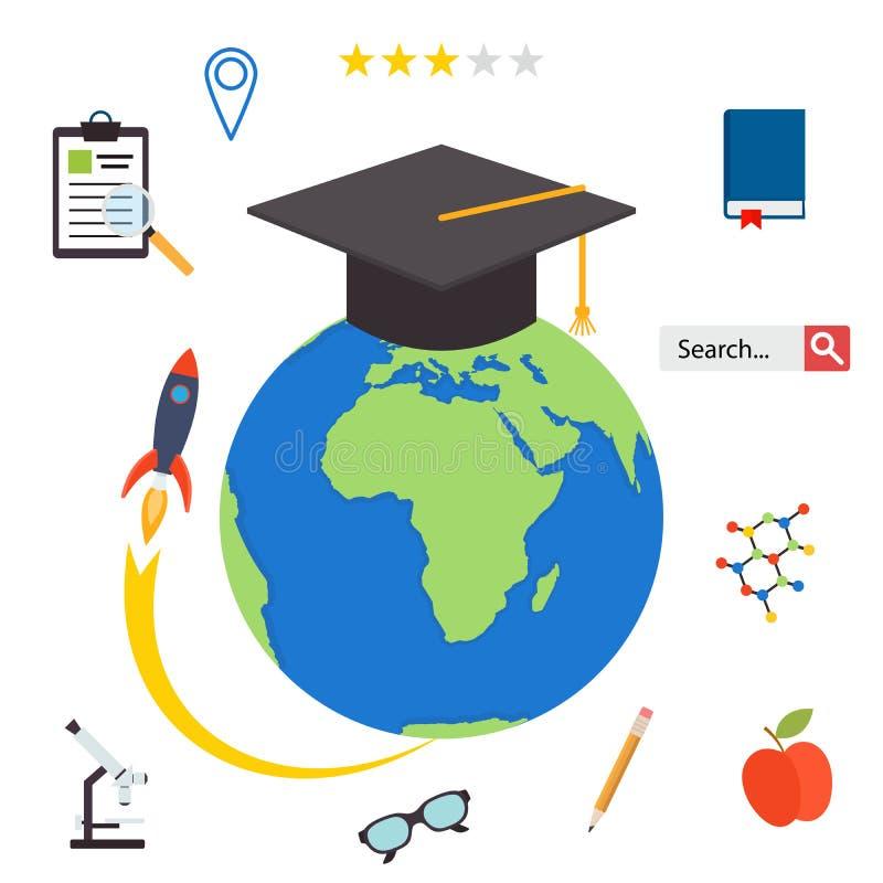 Ställ in symboler för online-yrkesutbildning i plan designstil royaltyfri illustrationer