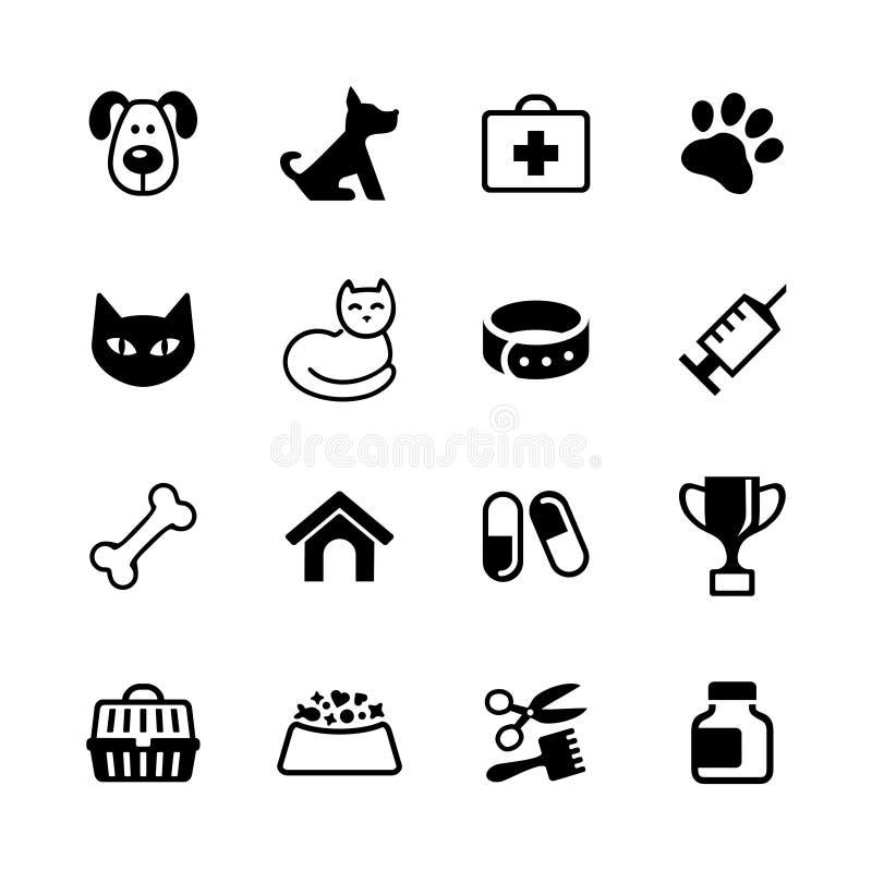 Ställ in symboler - husdjur, veterinärkliniken, veterinär- medicin royaltyfri illustrationer