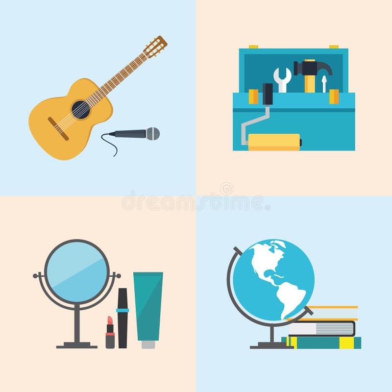 Ställ in symboler, lägenhetdesignen, skönhet, toolboxen, studier, musik stock illustrationer