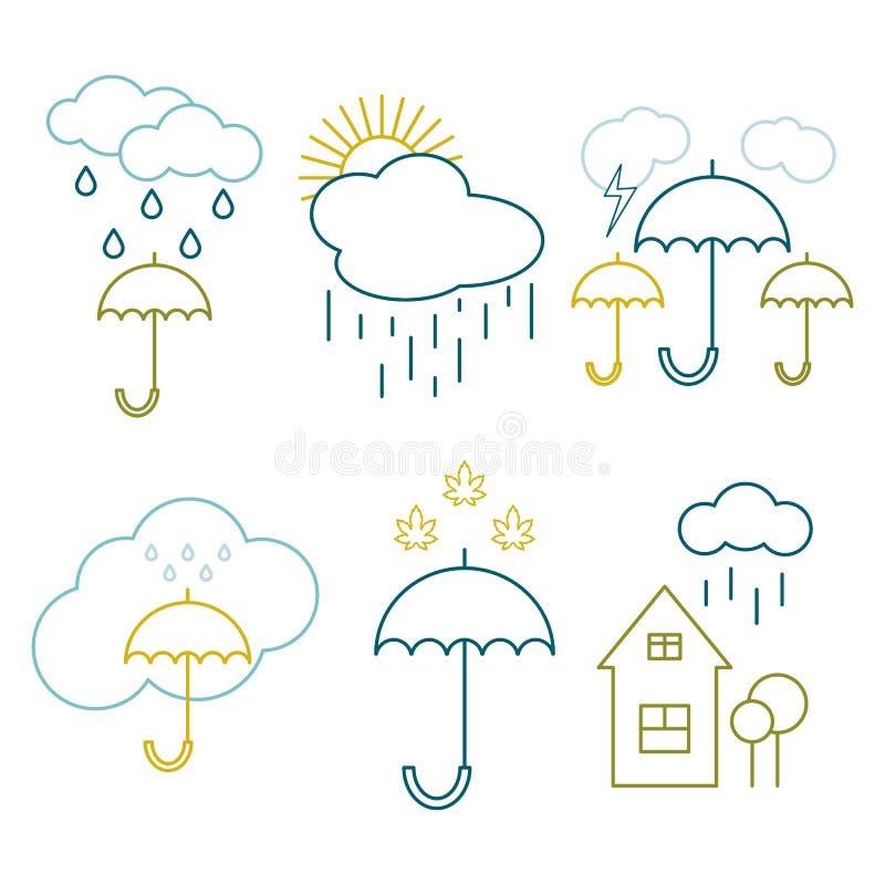Ställ in symbolsöversikten av vädret Imagesrainy höstväder vektor illustrationer