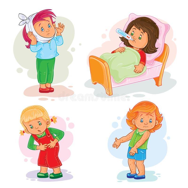 Ställ in symbolslilla flickan sjuk stock illustrationer