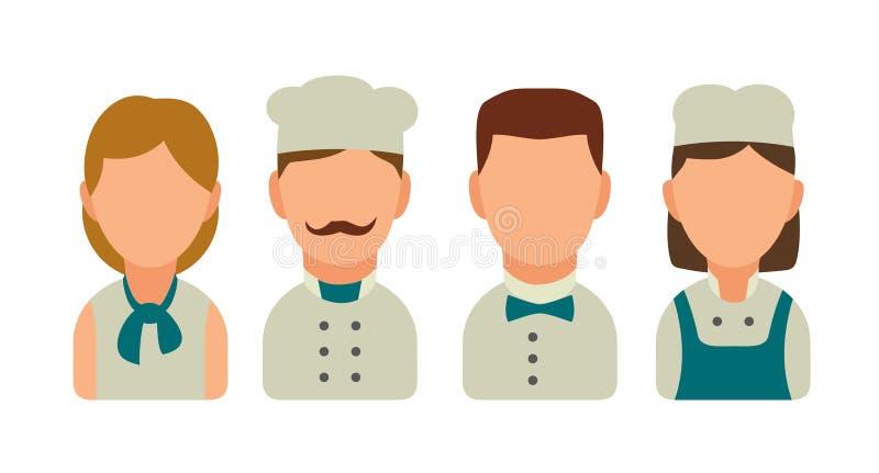 Ställ in symbolsteckenkocken Uppassare kock, servitris, stock illustrationer