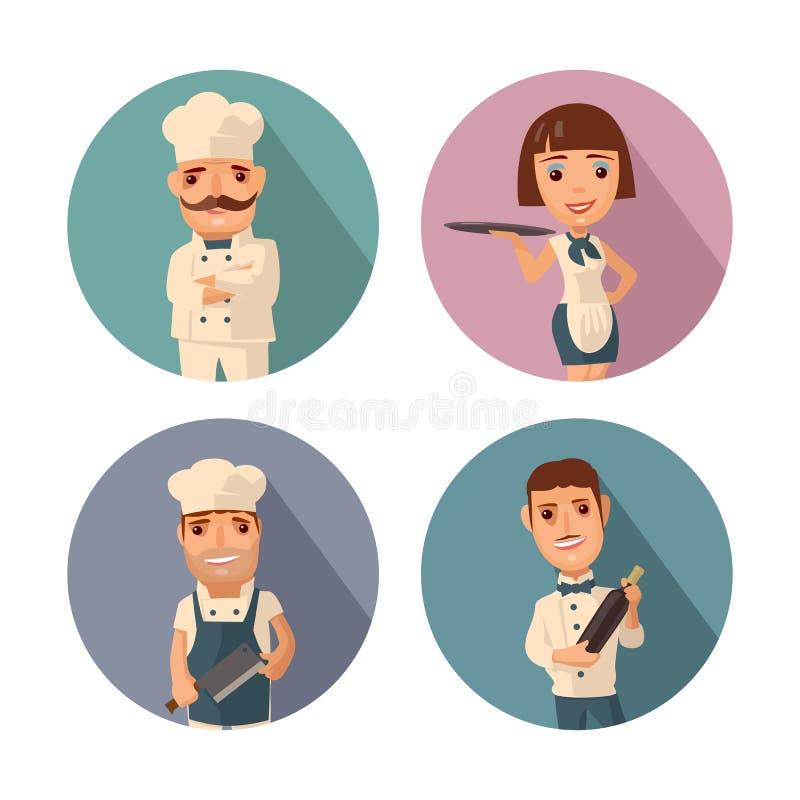 Ställ in symbolsteckenkocken Uppassare kock, servitris Plan illustration för vektor royaltyfri illustrationer