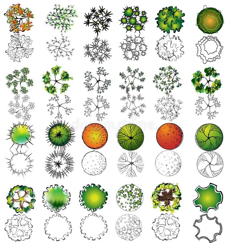 ställ in symboltreetopen stock illustrationer