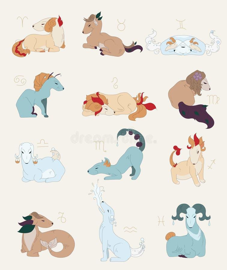 ställ in symbolzodiac stock illustrationer