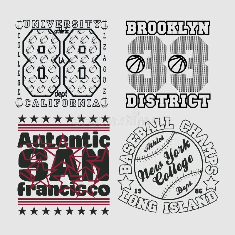 Ställ in t-skjortan, New York typografi, designdiagram stock illustrationer