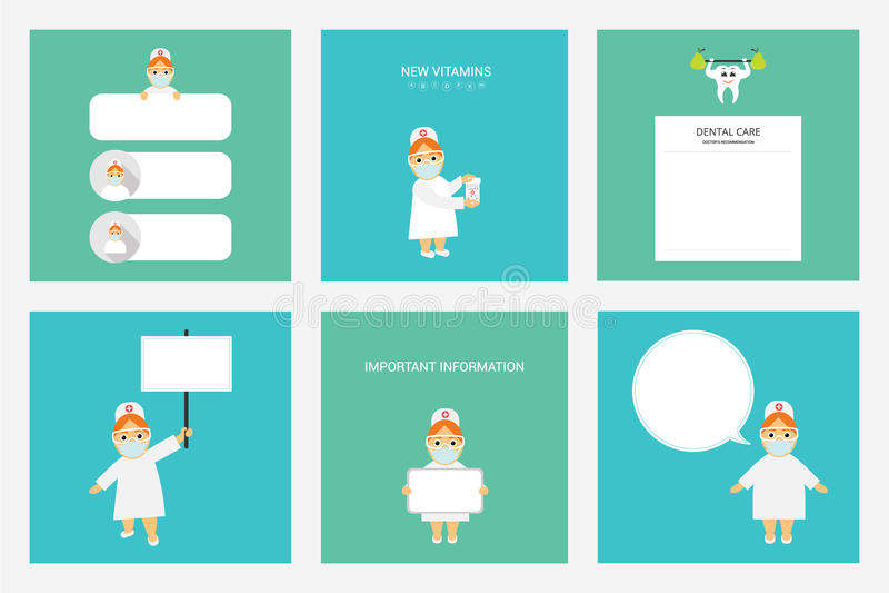 Ställ in tandläkaredoktorn yrke royaltyfri illustrationer