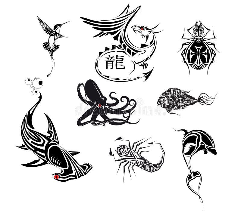 ställ in tatooen vektor illustrationer