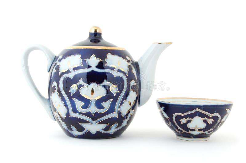 ställ in teauzbeken royaltyfri bild