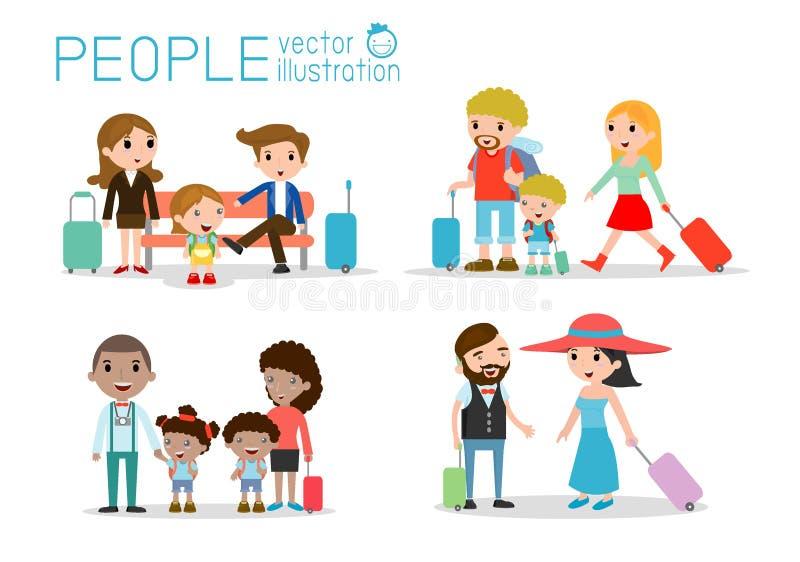 Ställ in teckenfamiljhandelsresande resa för folk och för ungar Plan design Resande familj på semester också vektor för coreldraw vektor illustrationer