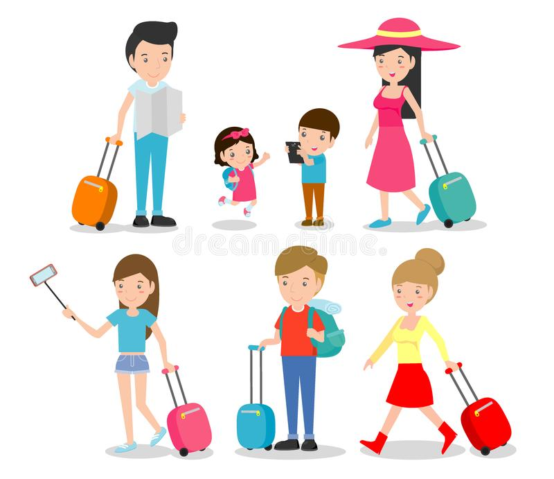Ställ in teckenfamiljhandelsresande resa för folk och för ungar Plan design Resande familj på semester också vektor för coreldraw royaltyfri illustrationer