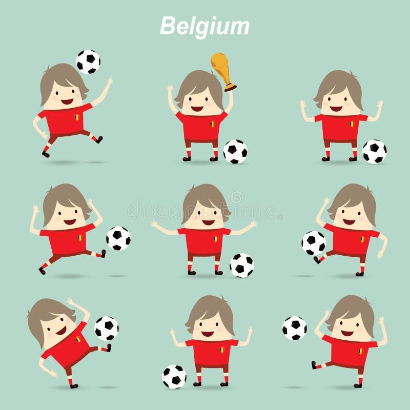 Ställ in teckenhandlingBelgien det nationella fotbollslaget, businessma royaltyfri illustrationer