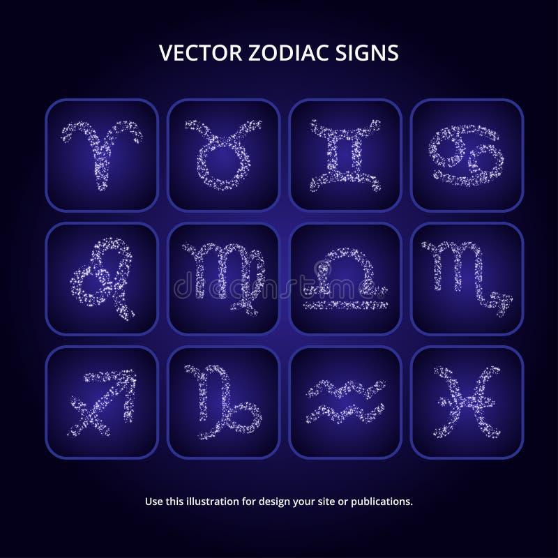 ställ in teckenzodiac stock illustrationer