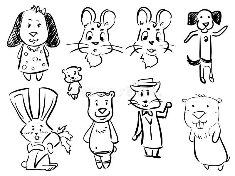 Ställ in tecknad filmdjur - rebbit, hunden, björnen, katten, mus vektor illustrationer