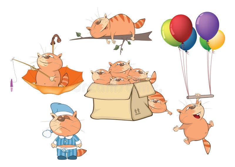 Ställ in tecknad filmillustrationen Gulliga katter för dig design royaltyfri illustrationer