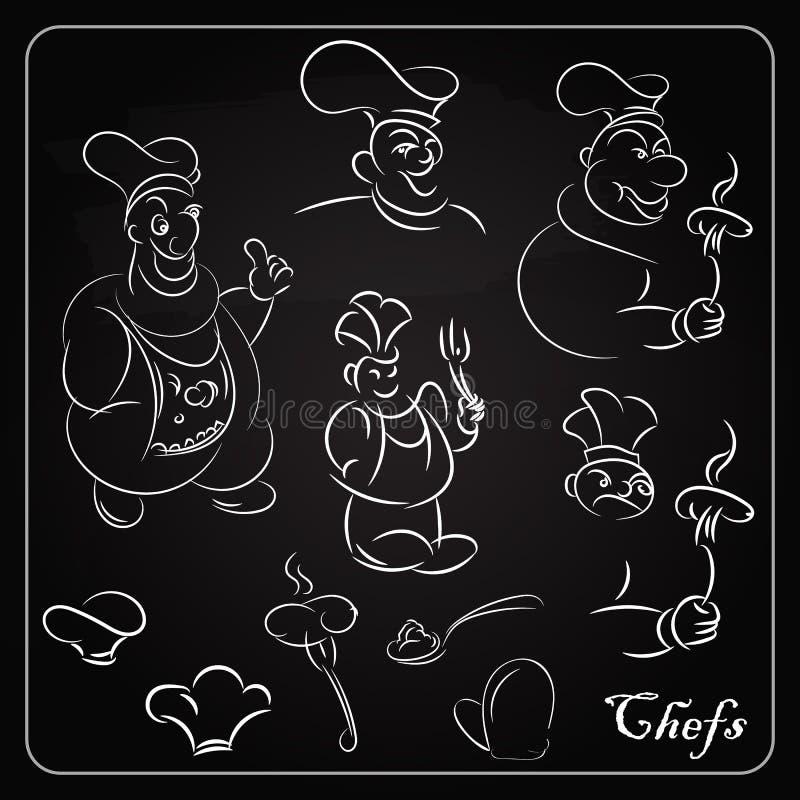Ställ in tecknad filmkockar på svart tavla Tecknade filmer för menyn stock illustrationer