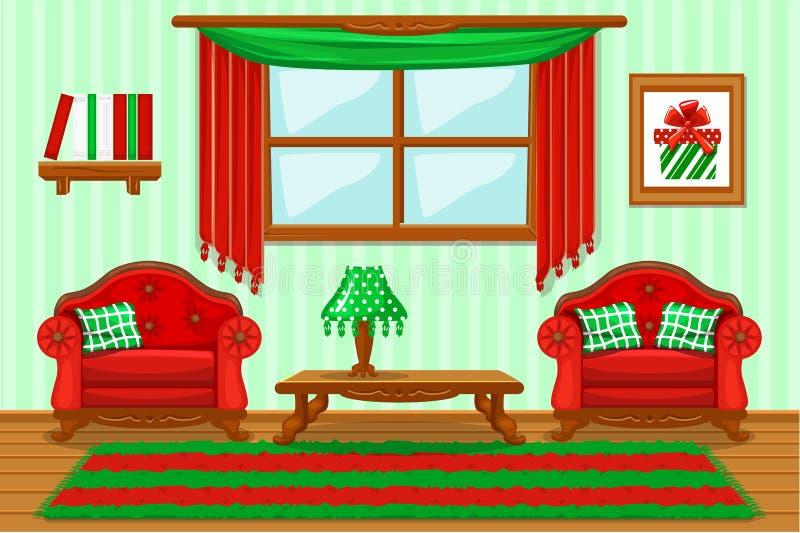 Ställ in tecknade filmen dämpat rött och grönt möblemang, vardagsrum stock illustrationer