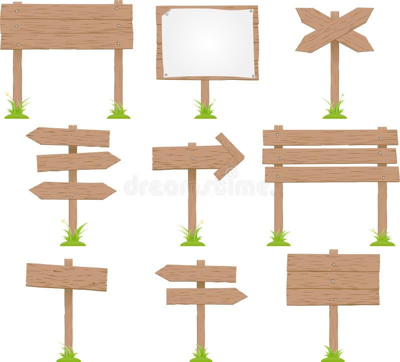 ställ in tecknet trä royaltyfri illustrationer