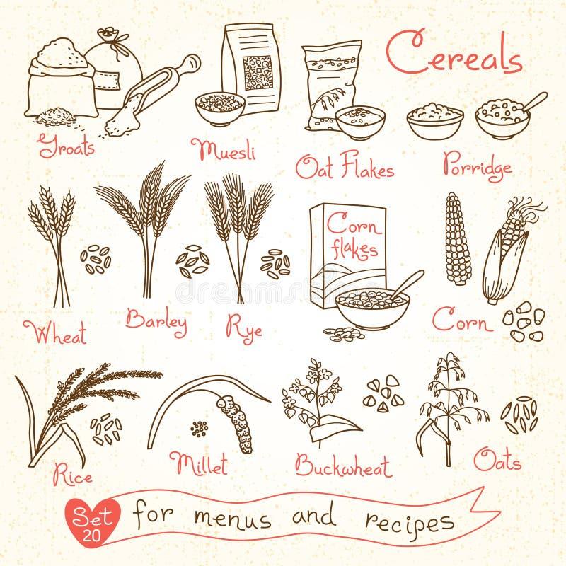 Ställ in teckningar av sädesslag för designmenyer, recept och emballage Flingor gryn, havregröt, mysli, cornflakes, havre, råg royaltyfri illustrationer