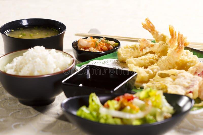 ställ in tempura royaltyfria foton