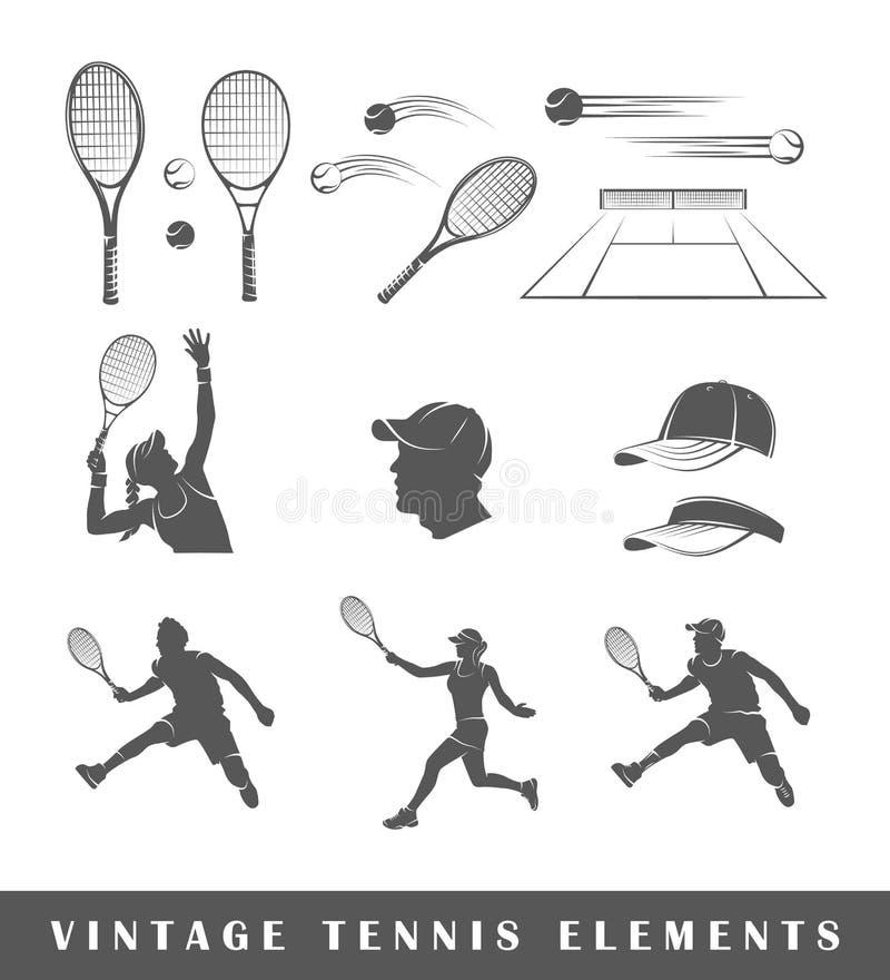 Ställ in tenniskonturer royaltyfri illustrationer