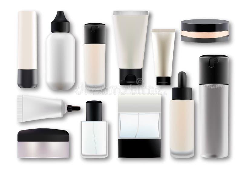 Ställ in tomma mallar för vektorn av tomma vita plast- realistiska behållare: flaskor med sprej, utmataren och droppglassen, kräm royaltyfri illustrationer