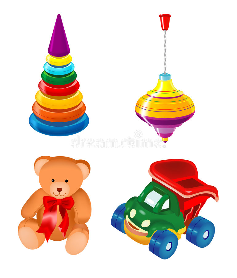 ställ in toys vektor illustrationer