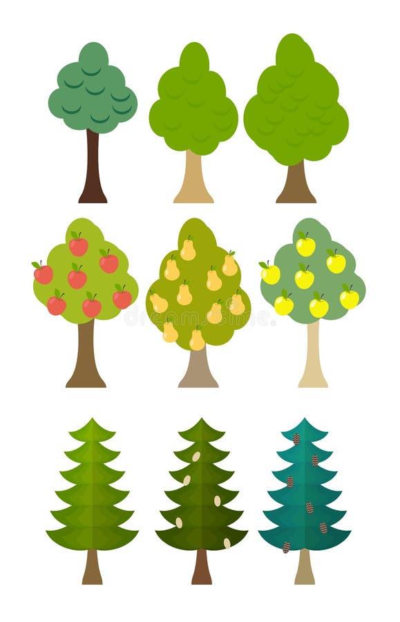 Ställ in trädsymbolsfruktträd, barrträd, skogträd Vektor Illust stock illustrationer