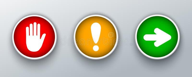 Ställ in trafikljusteckensymbolen med handen, utropmarc och pilen i cirkeln - vektor royaltyfri illustrationer