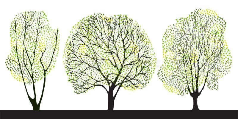 ställ in tre trees royaltyfri illustrationer