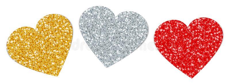 Ställ in tre vända hjärtor som mousserar guldsilver röda royaltyfri illustrationer